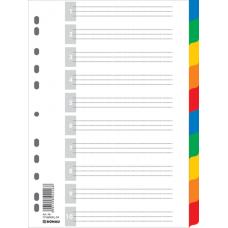 Разделитель листов А4 Donau, пластик, 10 разделов, цветной