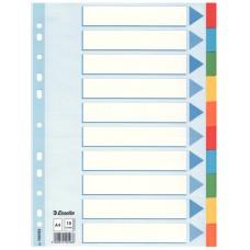 Разделитель листов А4 Esselte, картон, 10 разделов, цветной