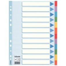 Разделитель листов А4 Esselte, картон, 12 разделов, цветной