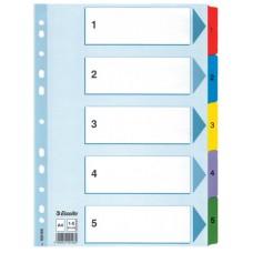 Разделитель листов А4 Esselte Mylar, картон, 1-5 раздел, цифровой