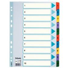 Разделитель листов А4 Esselte Mylar, картон, 1-10 раздел, цифровой
