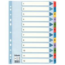 Разделитель листов А4 Esselte Mylar, картон, 1-12 раздел, цифровой