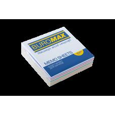 Бумага для заметок 80х80 мм. Buromax Зебра, 250 л., непроклеенная, цветная