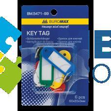 Брелок для ключей пластиковый Buromax 60х20 мм, ассорти (6 шт)