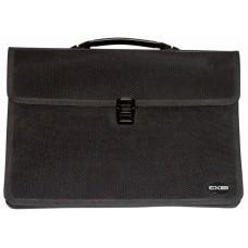 Портфель пластиковый В4 Economix на 2 отделения с тканевой окантовкой, черный