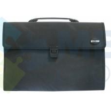 Портфель пластиковый В4 Economix на 3 отделения с тканевой окантовкой, черный