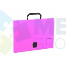 Портфель пластиковый A4 Economix на застежке, 1 отделение, розовый