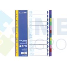 Разделитель листов А4 Economix, пластик, 12 разделов, цветной