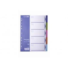 Разделитель листов А4 Economix, пластик, 5 разделов, цветной