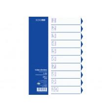 Разделитель листов А4 Economix, пластик, 10 разделов, цветной