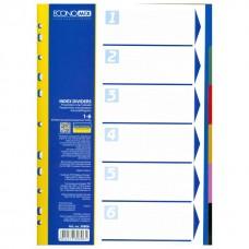 Разделитель листов А4 Economix, пластик, 6 разделов, цветной