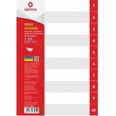 Разделитель листов А4 Optima, пластик, 1-10 раздел, цифровой