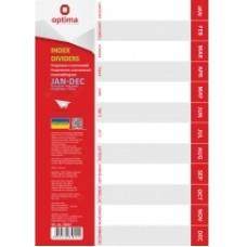 Разделитель листов А4 Optima, пластик, YAN-DEC, по месяцам