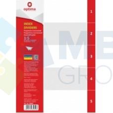 Разделитель листов А4 Optima, пластик, 1-5 раздел, цифровой