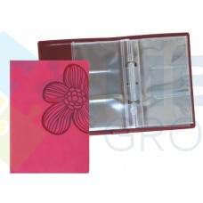 "Визитница Optima Vivella ""Цветок""на 90 визиток, искусственная кожа, розовая"