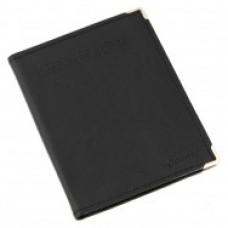 Визитница Optima на 96 визиток, с металлическими уголками, искусственная кожа, черная
