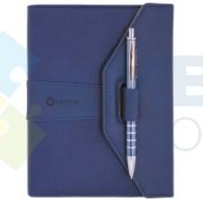 Бизнес-организатор с ручкой Optima, 135 x 185 мм, на кольцах, синий