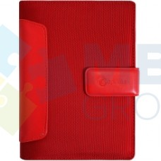 Бизнес-организатор со вставками из искусственной кожи Optima, 135 x 185 мм, на кольцах, красный