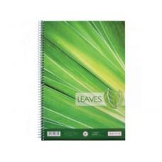 "Блокнот Optima ""Рисунки природы"" Leaves, А4, 80 л., боковая спираль"