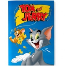 "Блокнот Cool for school, А5, 48 л., серия ""Tom and Jerry"", термобиндер, вертикальная проклейка, синий"