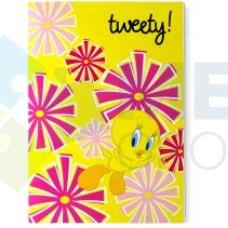 """Блокнот Cool for school, А5, 48 л., серия """"Tweety"""", термобиндер, вертикальная проклейка, желтый"""