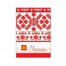 """Блокнот Optima """"Украина - мой любимый стиль"""", А6, 80 л., шитье на нитку, бело-красный"""