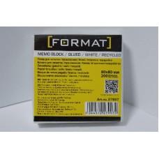 Бумага для заметок 80х80 мм Format, 200 л., непроклеенная, белая