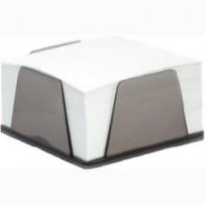Бумага для заметок 90х90 мм. Economix, 500 л., в клетку, в дымчатом пластиковом боксе, непроклеенная, белая