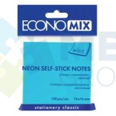 Блок для заметок с клейким слоем Economix, 75х75 мм, 100 л., неон голубой