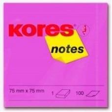 Блок для заметок с клейким слоем Kores, 75х75 мм, 100 л., неон розовый