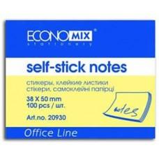 Блок для заметок с клейким слоем Economix, 38х50 мм, 100 л., пастель желтый