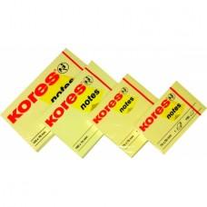 Блок для заметок с клейким слоем Kores, 50х75 мм, 100 л., пастель желтый