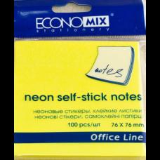 Блок для заметок с клейким слоем Economix, 75х75 мм, 100 л., неон желтый