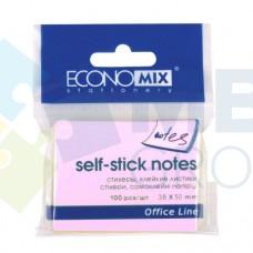 Блок для заметок с клейким слоем Economix, 38х50 мм, 100 л., пастель розовый