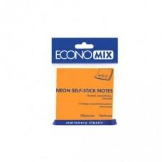 Блок для заметок с клейким слоем Economix, 75х75 мм, 100 л., неон оранжевый