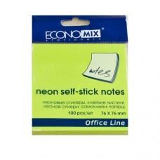 Блок для заметок с клейким слоем Economix, 75х75 мм, 100 л., неон салатовый