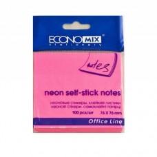 Блок для заметок с клейким слоем Economix, 75х75 мм, 100 л., неон розовый