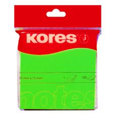 Блок для заметок с клейким слоем Kores, 75х75 мм, 100 л., неон зеленый