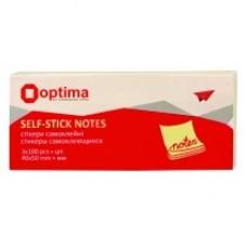 Блок для заметок с клейким слоем Optima, 40х50 мм, 100 л., 3 блока, пастель желтый