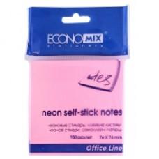 Блок для заметок с клейким слоем Economix, 75х75 мм, 100 л., пастель розовый