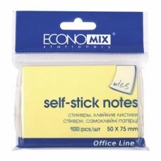Блок для заметок с клейким слоем Economix, 50х75 мм, 100 л., пастель желтый