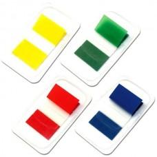 Закладки с клейким слоем Optima, 25х45 мм, 50 шт., пластиковые полупрозрачные, голубые