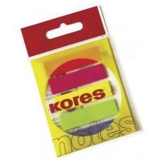 Закладки с клейким слоем Kores, 12х45 мм, 125 шт., пластиковые полупрозрачные, 5 неоновых цветов