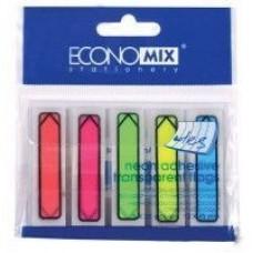 """Закладки с клейким слоем Economix """"Указатели"""", 12х45 мм, 125 шт., пластиковые полупрозрачные, 5 неоновых цветов"""