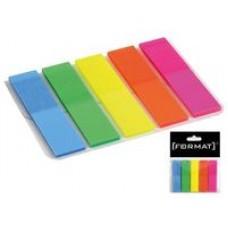 Закладки с клейким слоем Format, 12х45 мм, 100 шт., пластиковые полупрозрачные, 5 неоновых цветов