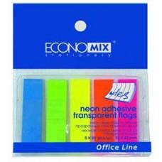Закладки с клейким слоем Economix, 12х45 мм, 125 шт., пластиковые полупрозрачные, 5 неоновых цветов