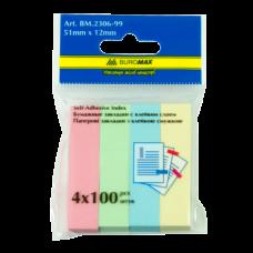 Закладки с клейким слоем Buromax, 51x12мм, 400 шт., бумажные, 4 цвета