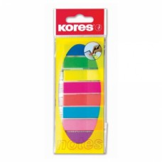 Закладки с клейким слоем Kores, 12х45 мм, 200 шт., пластиковые полупрозрачные, 8 неоновых цветов