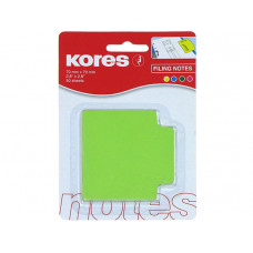 Закладки с клейким слоем Kores, 70х70 мм, 50 шт., бумажные, 4 неоновых цвета в линию