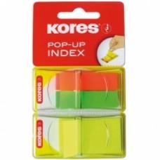 Закладки с клейким слоем Kores, 12х45 и 25х45 мм, 25 шт., пластиковые, 2 цвета на пластиковой скрепке